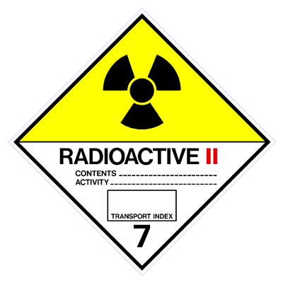 Hazardous Class Label - Radioactive II 7