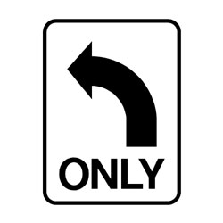 Road - Regulatory - Left Turn Only ( Arrow )