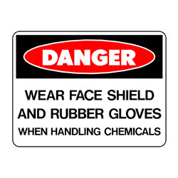 Danger Face Shield and Rubber Gloves