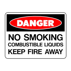 Danger No Smoking Combustible Liquids