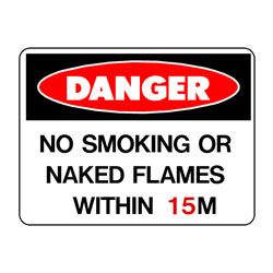 Danger No Smoking Or Naked Flames Within M