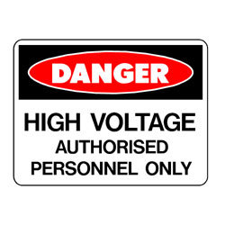Danger High Voltage Auth Pers Only