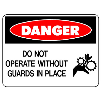 Danger Do Not Operated Without Guards (Picto)