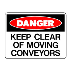 Danger Keep Clear of Moving Conveyors