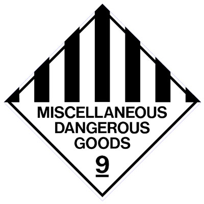 Hazardous Class Label - Miscellaneous Dangerous Goods 9