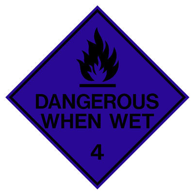 Hazardous Class Label - Dangerous When Wet 4