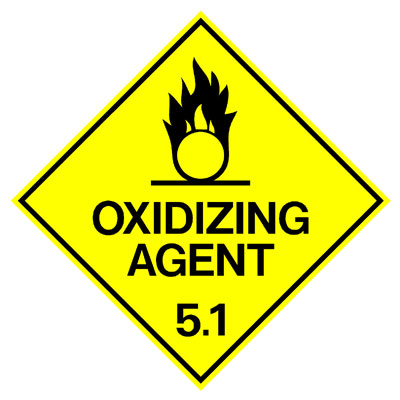 Hazardous Class Label - Oxidizing Agent 5.1