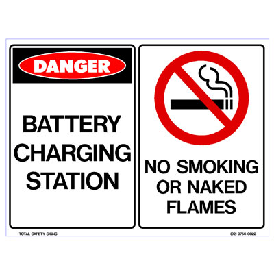 Battery Charging Station - No Smoking or Naked Flame