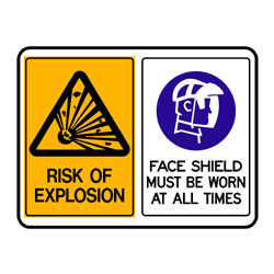 Risk of Explosion - Faceshield Must Be Worn