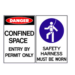 Confined Space Enter By Permit Only - Safety Harness Must Be Wor