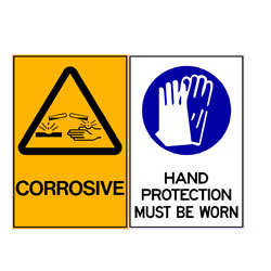 Corrosive - Hand Protection Must Be Worn