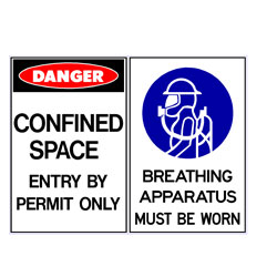 Confined Space Enter By Permit Only - Breathing Apparatus Must B