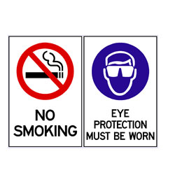 No Smoking - Hearing And Eye Protection Must Be Worn