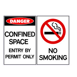 Confined Space Enter By Permit Only - No Smoking