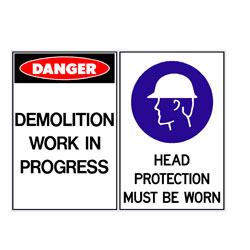 Demolition Work In Progress - Head Protection Must Be Worn