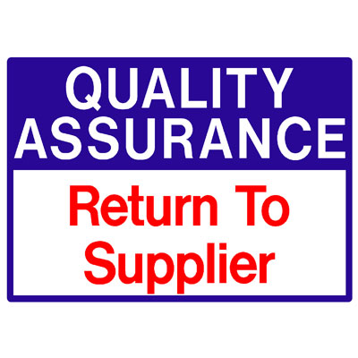 Quality Assurance - Return To Suppliers
