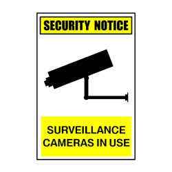 Security Notice Surveillance Cameras In Use