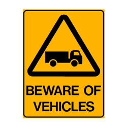 Warning Beware of Vehicles