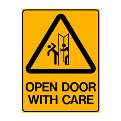 Warning Open Door With Care