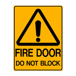 Warning Fire Door Do Not Block