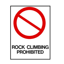 Water Safety - Rock Climbing Prohibited