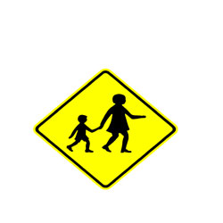 Road - Warning - Pedestrian And Child  Ahead