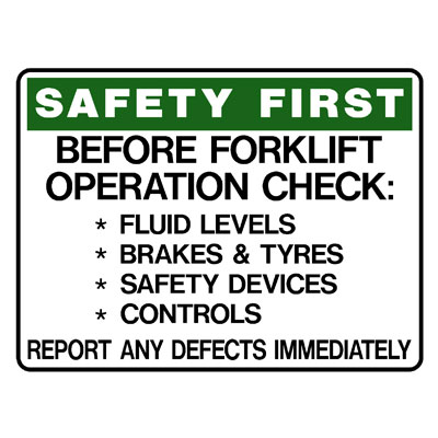 Safety First Before Forklift Operation Check-