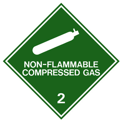Hazardous Class Label - Non Flammable Compressed Gas 2