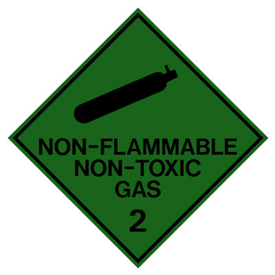 Hazardous Class Label - Non Flammable Non Toxic Gas 2